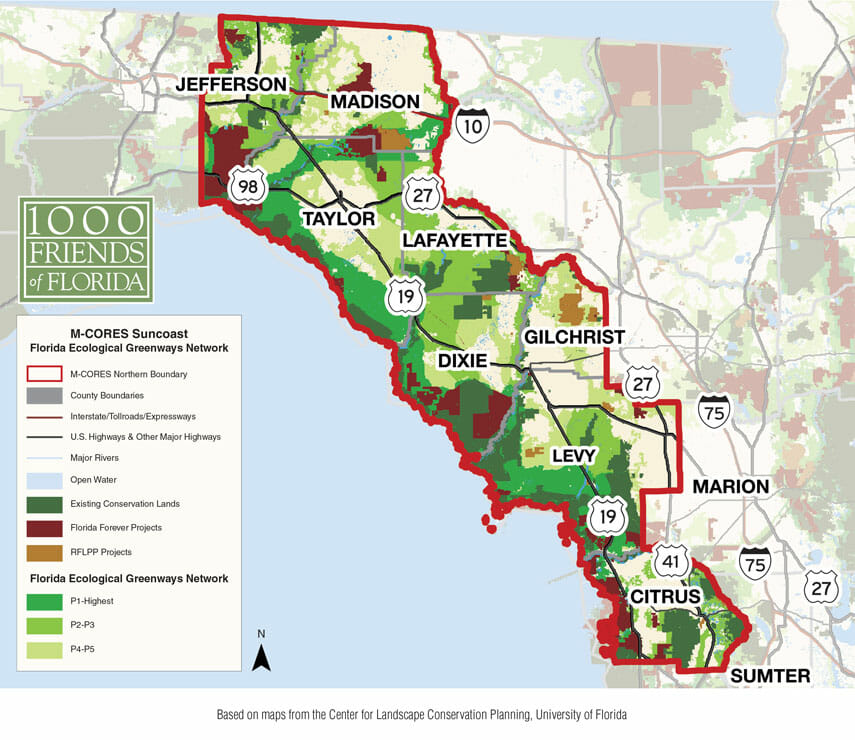 M-CORE  Suncoast Florida Ecological Greenways Network Map